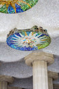 Gaudi s decorates barcelona spain parc guell antonio ceiling detail Royalty Free Stock Image