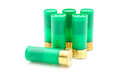 Gauge shotgun shells used for hunting isolated on a white background Stock Photo