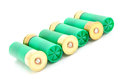 Gauge shotgun shells used for hunting isolated on a white background Royalty Free Stock Images