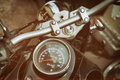 Gauges of old classic motorcycle Royalty Free Stock Photo
