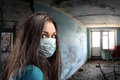 Gauze bandage women indoor woman in obsolete room Royalty Free Stock Image