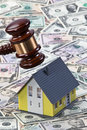 Gavel Above Toy House and Money Royalty Free Stock Image