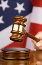 Gavel and american flag Stock Image