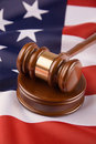 Gavel and american flag Stock Images