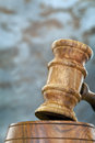 Gavel with blurred background wooden Stock Image
