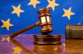 Gavel and EU Flag Stock Image