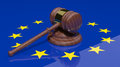 Gavel and european flag Stock Images