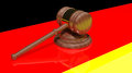 Gavel on the flag of Germany Royalty Free Stock Images