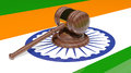 Gavel on the flag of India Royalty Free Stock Photos