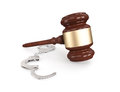Gavel with handcuffs on white d render Stock Photography