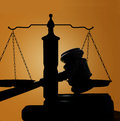 Gavel and scales judges court of justice silhouette Royalty Free Stock Images