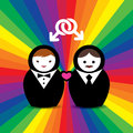 Gay couple married doll on rainbow background Stock Photography