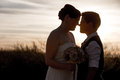 Gay couple touching noses happy married homosexual outdoors at sunrise Royalty Free Stock Photos