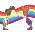 Gay couples kissing.Vector cartoons image isolated Stock Photo