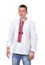 Gay in embroidered shirt ukrainian on white background Stock Images