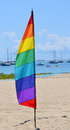 Gay feather flag a pride against the background of a marina in provincetown massachusetts Royalty Free Stock Image
