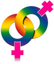 Gay female rainbow colored symbol two symbols on white background relationship Royalty Free Stock Image
