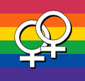 Gay flag with female symbol rainbow Royalty Free Stock Photo