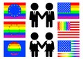 Gay flag symbols and flags of homosexual culture Stock Image