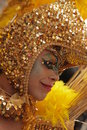 Gay in gold portrait of a man dressed a golden dress during and lesbian pride parade london Stock Images