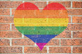 Gay heart on brick wall Royalty Free Stock Photo