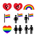Gay and lesbian couples rainbow icons set gblt community rights isolated on white Stock Photography