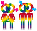 Gay and Lesbians Relationship - Rainbow Colored Symbols