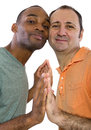 Gay lovers couple older russian men with younger black male Stock Photography