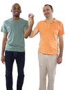 Gay lovers couple older russian men with younger black male Stock Photo