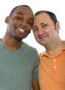 Gay lovers couple older russian men with younger black male Stock Image