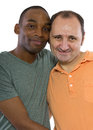 Gay lovers couple older russian men with younger black male Royalty Free Stock Photo