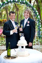 Gay male couple at wedding reception handsome toasting with champagne their beautiful outdoor Royalty Free Stock Images