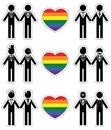 Gay man grooms icon set with rainbow element 1 Royalty Free Stock Photo