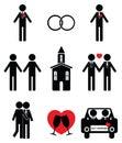 Gay man wedding 2 icons set