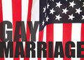 Gay marriage words on American flag Royalty Free Stock Photos