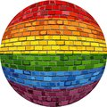 Gay pride Ball in brick style Royalty Free Stock Photo