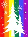 Gay Pride Flag Christmas Tree Card