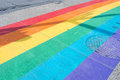 Gay pride flag crosswalk Royalty Free Stock Photo