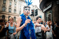 Gay pride parade in milan on june italy manifestation normal people lesbians transgenders and bisexuals take to the street Stock Images