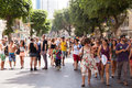 Gay pride parade tel aviv israel june people partying at the annual in the streets of Royalty Free Stock Image