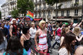 Gay pride in paris people parading on the boulevard du montparnasse france saturday th of june Royalty Free Stock Images