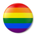 Gay pride pin back a button with the flag of the lgbt movement on white background with clipping path Royalty Free Stock Photos