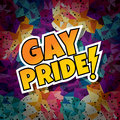 gay pride text abstract colorful triangle geometrical background Royalty Free Stock Photo