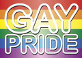 Gay pride words over the flag Royalty Free Stock Image