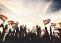 Gay Rainbow Flag Crowd Celebration Arms Raised Concept Royalty Free Stock Photo