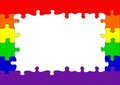 Gay rainbow flag puzzle border Royalty Free Stock Photo
