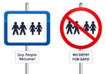 Gay signs two the first one welcomes people the second homophobic sign says no entry Royalty Free Stock Photos