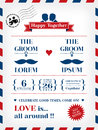 Gay wedding invitation template in postcard and air mail style Royalty Free Stock Photo
