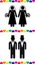 Gay wedding pictograms Royalty Free Stock Photo