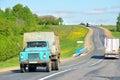 Gaz chuvash republic russia may blue dump truck at the interurban road Royalty Free Stock Photos